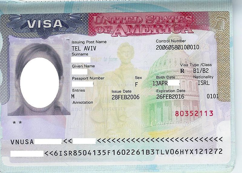 US Visit Visa (As a work of the U.S. federal government, the image is in the public domain.)